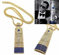 "MENS NEW ICED OUT GOLD CIROC VODKA BOTTLE PENDANT 4mm/36"" FRANCO CHAIN NECKLACE"