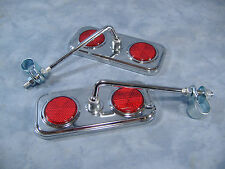 PAIR CHROME REAR VIEW BICYCLE MIRRORS W/ RED REFLECTORS LOWRIDER CRUISER BIKE