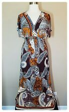 Women's Plus Size 3X Maxi Dress Brown Paisley Kimono Sundress Beach Cover Up NWT