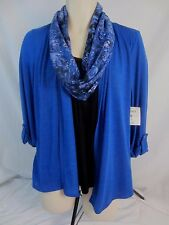 Coral Bay Blue Black One Piece Blouse Shirt w/Scarf - Women's PL - GG193 - NWT