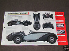 1935-1939 ALFA ROMEO 8C 2900 (1938) SPEC SHEET BROCHURE PHOTO BOOKLET