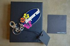 DSQUARED² RARE MULTICOLOR ENAMEL HAWAII FLOWERS KEY CHAIN RING HOOK ACCESORIE
