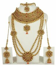Indian Bollywood Red LCT Bridal Polki Jewelry Ruby Women Necklace set 3146