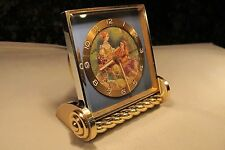 Vintage Art Deco Swiss Made IMHOF 15 Jewels 6 Day Hand Painted Alarm Clock
