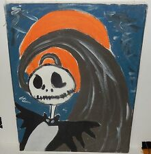NIGHTMARE BEFORE CHRISTMAS OIL ON CANVAS FOLK PAINTING SIGNED