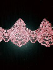 11cm Pink embroidered bead venise lace bridal wedding dress prom trim net