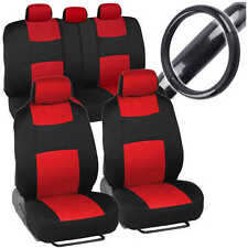 Red Car Seat Cover W/ Black Carbon Fiber Steering Wheel Cover - Sporty Rome