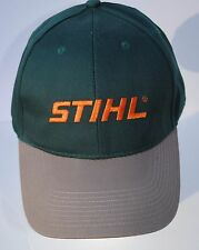 Stihl Forest Green Fabric Hat / Cap with Orange Embroidered STIHL logo