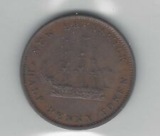**1843**New Brunswick Half Penny Token, Coin Mart Graded**AU-50**NB-1A2