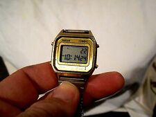 Vintage Phaser Alarm Chronograph Mens Digital LCD Gold Watch w/Original Band