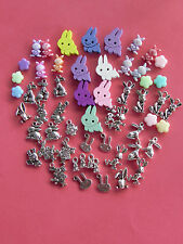 50+ COLORFUL & SILVER assorted EASTER BUNNY RABBIT/SPRING CHARMS FREE SHIPPING