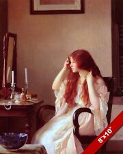 BEAUTIFUL GIRL YOUNG REDHEAD WOMAN BRUSHING HAIR OIL PAINTING ART CANVAS PRINT