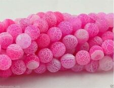 8mm Pink Frost Agate Onyx Gem Round Loose Bead 14''