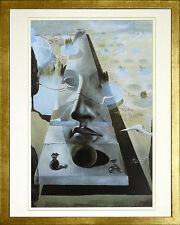 Apparition of the Face of Aphrodite by Dali (18 x 22). Print. Wood Gold Frame