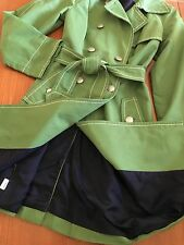 Ann Taylor Loft Green Trench Coat 71% Cotton 29% Nylon Double Breasted - Sz 0/XS