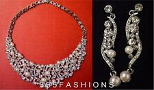 SILVER VINTAGE STYLE FAUX PEARL STATEMENT BIB COLLAR NECKLACE EARRING SET