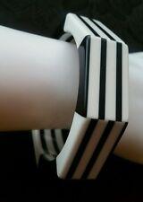 Vtg Mod Stripes Checkered Geometric Black & White Octagon Lucite Bangle Bracelet