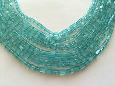 "GREEN APATITE CUBE 4X5MM BEADS  14"" LONG"
