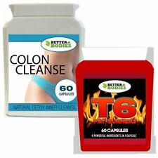 60 T6 STRONG FAT BURNERS & 60 DETOX COLON INNER CLEANSE WEIGHT LOSS DIET PILLS