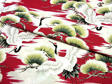 Japanese Fabric_Cotton_Red,Crane_Half Yard,#m025
