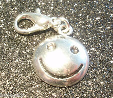 10 Silver Tone Smiley Clip on Charms for Bracelets Wholesale Jewellery Joblot