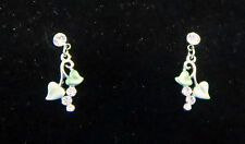 Leaf Crystal Earrings Pierced Green Heart Shaped Leaves Clear Silver Tone New