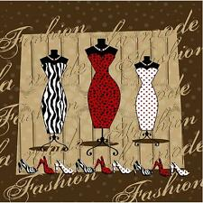 French Fashion Dresses on Stand Bathroom Shower Curtain Polyester 180cm x 180cm