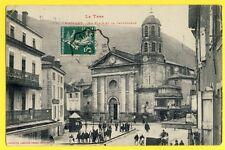 cpa France 81 - MAZAMET (Tarn) La Place et La CATHEDRALE Animés Boucherie FABRE