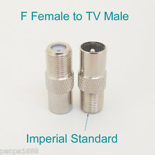 4pcs Imperial Copper TV PAL Male plug To F Type Female Straight RF Adapter