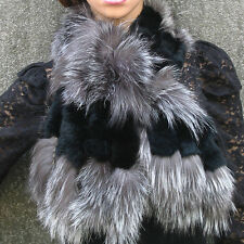050202 New real silver fox fur c/w rex rabbit fur scarf wrap cape shawl