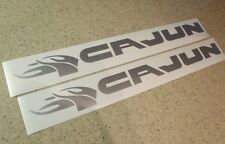 Cajun Bass Fishing Boat Vintage Decal SILVER 2-PK FREE SHIP + FREE Fish Decal!
