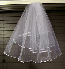 Women's Unbranded Wedding Veil – White Tulle, Ribbon Edge & Faux Pearls - New