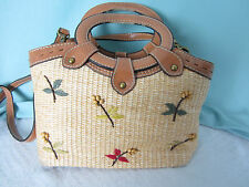 Fossil Handbag Purse Shoulder Bag Straw Bead Embroidery Trim EPOC