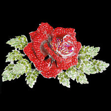 "5.9"" Rose Flower Leaf Pin Brooch Red Austrian Crystal Silver GP Women Party"