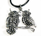Antique Silver Plated Owls On Branch Charm Pendant Black Leather -Ette Necklace
