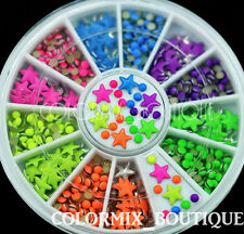Star Half Round Metal Studs  Nail Art Decoration Neon Color Rivets #S9
