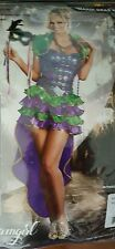 Brand New Mardi Gras Festive Maven Dress Women Adult Costume + Bonus Mask