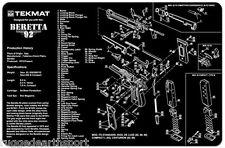 Beretta 92 - M9 Handgun TekMat Gun Cleaning Mat 11x17 w/ Parts Schematic BER92
