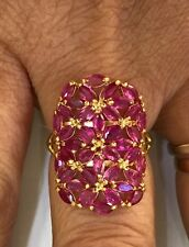 14K Solid Yellow Gold Cluster Ring with Natural Ruby Marquise Cut 3.50GM Size6.2