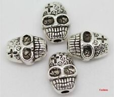 Free shipping 12pcs fashion Beautiful Cross skull charms Spacer Beads 7x10mm