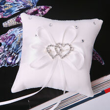 White Bridal Wedding Ceremony Ring Bearer Pillow Cushion Crystal Double Heart 4""