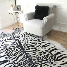 WHITE BLACK PRINTED SNOW TIGER COWHIDE LEATHER AREA FLOOR RUG LARGE