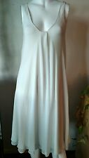 EILEEN FISHER Sz SM 100% SILK WHITE SLEEVELESS LAYERED TENT DRESS + SLIP