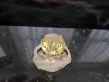 15 CT YELLOW GOLD SOLITAIRE 13MM ROUNDED AND FACETED CITRINE UK SIZE N 1/2 US SI