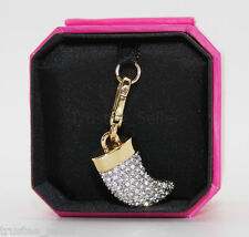 JUICY COUTURE Limited Edition Crystal Pave Horn Charm Bracelet Necklace Handbag