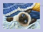 Siamese Cat Print Blue Fabric by Irina Garmashova