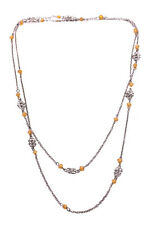 Gorgeous Rustic Chrome/ Yellow Crystal Beads Long Metal Necklace(Zx179)