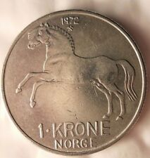 1972 NORWAY KRONE - Excellent Vintage Coin - FREE SHIPPING - Norway Bin #4