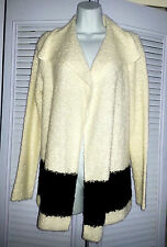 Raph Lauren Jeans Co. Draped Colorblocked Cream/Black Sweater Jacket Cardigan M