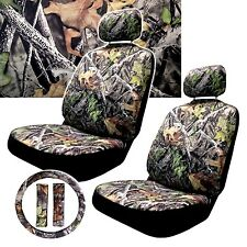 Camouflage Seat Cover Pair 2pc Steering Wheel Shoulder Pads Hawg Camo